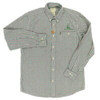 "Beretta Prairie Wildlife Men Medium 46"" Long Sleeve Button Shirt Plaid Green"