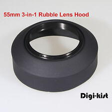 55mm3-in-1 Collapsible Rubber lens hood 4 Canon Nikon Sony Olympus Pentax Contax