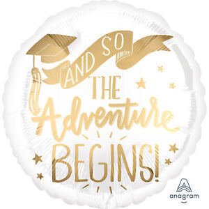 """17"""" And So The Adventure Begins Foil Balloon Graduation White And Gold"""