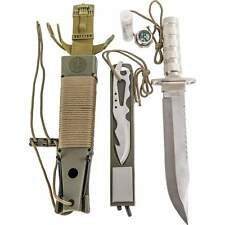 Combat Fixed Blade Survival Knife, Military Hunting Camping New w/ Gift Box