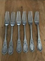 VINTAGE ANTIQUE HEAVY SILVER PLATED DESERT FORKS X6 FLATWARE