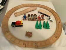 Complete Wooden Train track accessories tonka cement mixer fire and police