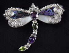 NEW! Sajen Dragonfly Abalone Peridot Amethyst Pendant/Pin .925 Sterling Silver