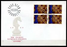 Schach. Schach-Olympiade, Lugano. FDCx4W. Schweiz 1968