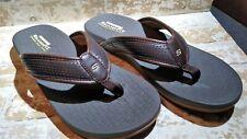 Mens Skechers Emiro Brown Memory Foam Relaxed Fit Thongs Sandals Flip Flop Sz 12