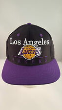 LAKERS PURPLE/BLACK LOGO/TEAM NAME FLAT VISOR STRUCTURED SNAPBACK CAP BY ADIDAS
