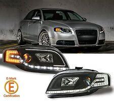 R8 Style DRL Black Projector Headlights w/LED Turn Signal Lamps 05~09 Audi A4 B7