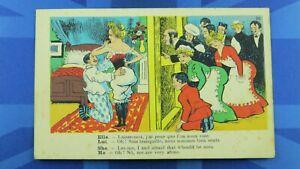 Saucy Comic Postcard 1900's Corset Girdle Bloomers Voyeur AFRAID WOULD BE SEEN
