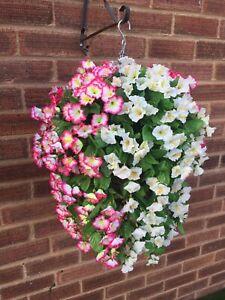 Beautiful Artificial  Morning Glory Ivory / Pink Hanging Basket Ready To Hang