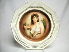 "10"" Antique Schumann Germany Porcelain Artist Portrait Plate Mint #1 Reticulated"