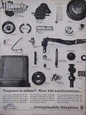 PUBLICITÉ DE PRESSE 1962 RENAULT DAUPHINE PIÈCES DÉTACHÉES - ADVERTISING