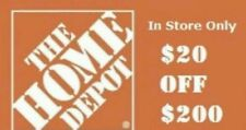 Home Depot $20 off $200 **fast delivery!! *in store only* QUICK RELIABLE SERVICE