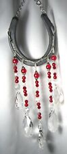 GORGEOUS Horseshoe Suncatcher W/ 5 Strands of Crystal/Red  Glass Beads
