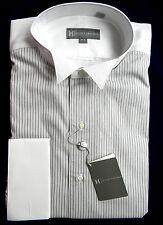 Hickey Freeman Black Striped Cotton Tuxedo Shirt Size 16 L