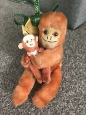 Lot 2 Miniature Antique Vtg Fur Monkey 1 Jointed 1 Sitting Dollhouse Stuffed Toy