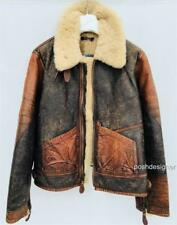 Polo Ralph lauren Brown shearling aviator jacket Coat M-L RRP2200GBP New
