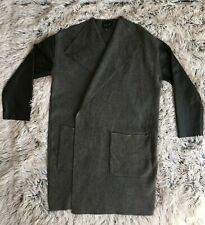 Zara Dark Grey Duster Coat with Faux Leather Sleeves Two-Pockets Size Small