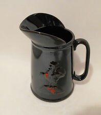 Vintage Redware Brown Stoneware Glazed  Pottery Batter Pitcher Rooster Decor
