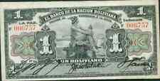 BOLIVIA 1 BOLIVIANO 1911. RARE TYPE. P 102. VF+ CONDITION. LOW START Do