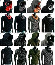 New Men Black Cloak COWL Neck HOODIE CLOAK long sleeve shirt gym S M L XL XXL