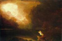 Oil painting Thomas cole - The Voyage of Life Old Age angel elder in landscape
