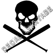 Skull with Crossed Baseball Bats Vinyl Sticker Decal - Choose Size & Color
