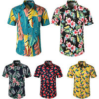 Hawaiian Men's Slim Fit Summer Casual Dress Shirt Short Sleeve Shirts Tops Tee