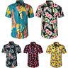 Men Hawaiian Shirt Aloha Party Summer Stag Beach Holiday Tropical Floral Top Tee