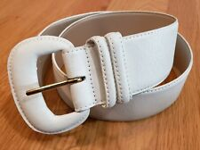 "Vtg 80s Karen Scott 2"" Wide White Leather Curved Accent Belt Large"