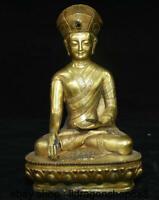 """8 """"vieux tibétain cuivre or bouddhisme siège guru lama statue de bouddha"""