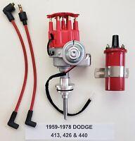 1959-1978 DODGE 440 426 413 Small Cap HEI DISTRIBUTOR + RED 45,000 Volt Coil