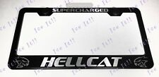 HELLCAT SUPERCHARGED Stainless Steel Black License Plate Frame Rust Free Caps