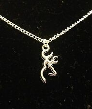 Buckmark Deer Head Necklace NEW! Silver Plated Chain Buck Browning US SELLER!