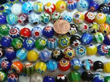 30 Perles 12mm verre style Millefiori Fleurs mix couleurs DIY création bijoux