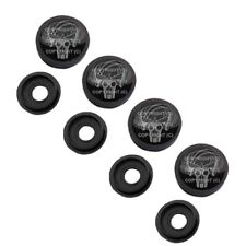 4 Black License Plate Frame Tag Screw Snap Cap Covers PUNISHER FLAME SKULL H086