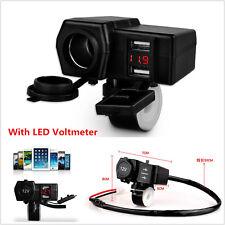Motorcycle Waterproof 12V GPS Cigarette Lighter USB Charger Socket LED Voltmeter