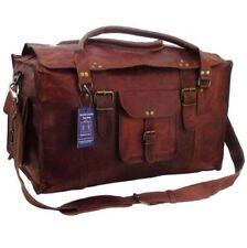 21 inch Mens Vintage Genuine Leather Flap Duffel Carry On Weekender Travel Bag