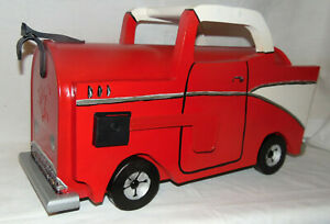 NEW 57 Chevy Hand Painted Mailbox RED White Handpainted Mail Box Chevrolet CAR