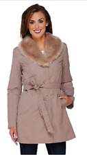 Dennis Basso Coat with Removable Faux Fur Collar and Liner,Taupe, Size M, $158