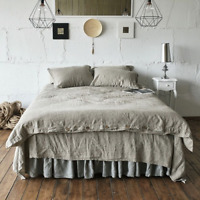 Natural Washed Linen Duvet Cover French Bed Flax Linen Bedding Set Softened