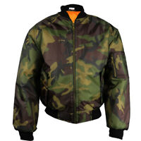 Army CAMO Mens Classic MA1 Flyer Bomber Jacket Brown Green Full Zip Orange NEW