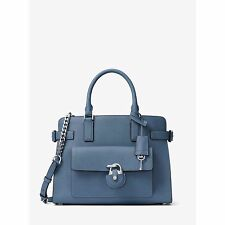 NWT MICHAEL KORS EMMA Saffiano Leather E/W Satchel Crossbody Bag CORNFLOWER$398