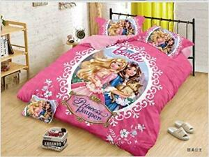 Queen Size Bedsheet 2 Pillow Covers Disney Kids Cartoon Barbie Print Bedding Set