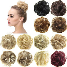 Messy Curly Hair Bun Flexible Scrunchie Synthetic Wrap On Chignon Hairpieces