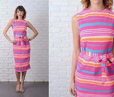 Vintage 70s 80s Pink Sweater Knit Dress  Striped Retro Small S