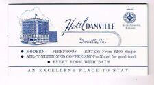 """Unused 1940s HOTEL DANVILLE Ink Blotter 3¼ x 6"""" Virginia"""