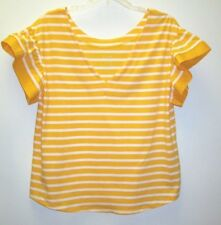 NEW A.N.D. Womens Plus Short Sleeve V-Neck Top, Yellow & White Stripe - 0X