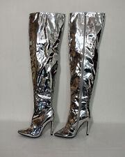 Stiletto Overknee Stiefel Größe 37 Lack silberfarben F511
