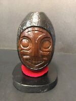 Wood Carving From Wooden Float, First Nations Art West Coast Painted 1972 Canada