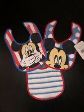 Set/3 Disney Baby Mickey Mouse Red White Blue Bibs New with tags